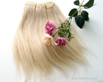 Straight wefted mohair goat hair 20 cm long platinum blonde for waldorf, Blythe, fabric dolls, ragdoll
