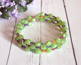 Green Memory Wire Bracelet - One of A Kind - Tatted Rainbow Lace Bracelet - Beaded Tatting - Multi Wrap - Adjustable - Maia