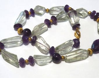 Amethyst, Green Amethyst and 18k gold beads necklace.