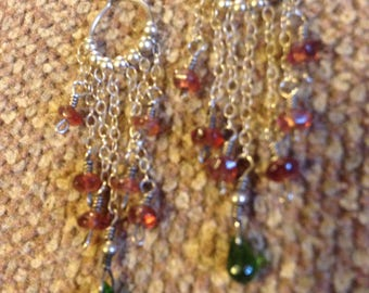 Handmade Genuine Chrome Diopside/Garnet Sterling Silver Chandelier Earrings
