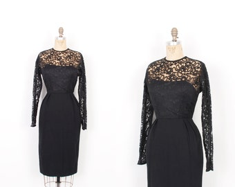 Vintage 1950s Dress / 50s Lace and Wool Wiggle Dress / Black ( small S )