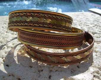 set of three (3) Vintage Copper and Brass Cuff Bracelets, nice designs