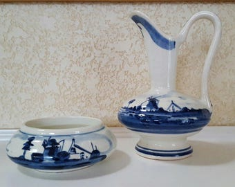"Mini 4.5"" DELFT Windmill PITCHER & Open Salt Signed Handpainted Holland"