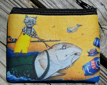 Wake up Daddy Tide is comin in art Coin Purse zippered pouch neoprene