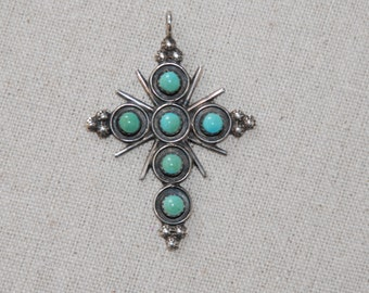 Vintage Sterling and Turquoise  Zuni Cross Pendant, Myra Qualo Style, Native American Sterling and Turquoise