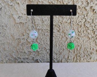 Green Roses Earrings