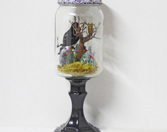 Creepy Miniatures - Miniature Cemetery in Jar - Glass Jar on Pedestal - Gothic Cemetery Diorama - Dark Home Decor - Gothic Home
