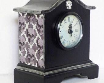 Gothic Clock - Skull Clock - Upcycled Wood Clock - Gothic Home Decor - Goth Decor