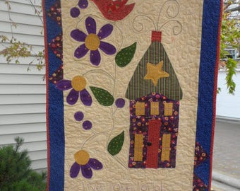 LIVE, LOVE, LAUGH Wall Hanging, Whimsical House and Bird, Size  21.5 x 30- Sale - Sale