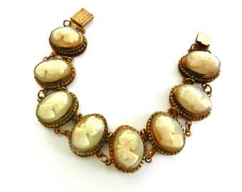 1930s Vintage silver 800 gold wash Cameo Link Bracelet signed - 8 genuine shell cameo Ladies exquisite old European bracelet - Art.794/4 -