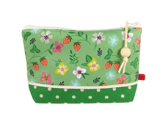Cute Makeup Bag, Gift Set for Women, Cosmetic Case, Mothers Day Gift, Green Floral Zipper Pouch, Present for Her