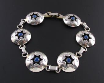 Sterling Silver Bracelet, Southwest Bracelet, Lapis Lazuli Bracelet, Native American Bracelet, Blue Bracelet, Silver Link Bracelet