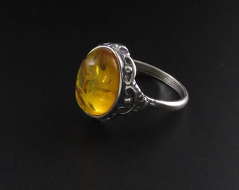 Faux Amber Ring, Sterling Silver Ring, Yellow Ring, Statement Ring, Size 9 Ring