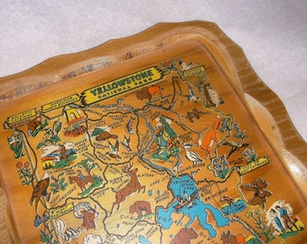 Vintage YELLOWSTONE NATIONAL PARK Wooden Map Plaque • 6 inches