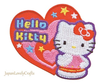 Hello Kitty & Blue Bow Patch, Kawaii Sanrio Embroidered Iron On Patch, Japanese Cute Iron on Applique, Made Japan, Embroidery Applique, W215