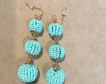Triple drop beaded ball earrings