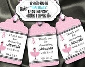 12 Favor Tags, Gift Tag, Thank You Tags, Tutus, Pink Ballerina Tutu, Ballet Slippers, Birthday Party, Baby Shower