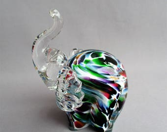 Hand Blown  Art Glass Multicolored Baby Elephant.