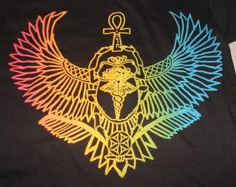 T-Shirt - Winged Scarab (Rainbow on Black)