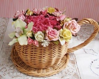 Teacup Basket Table Centerpiece