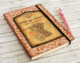 Pink Fashion Journal in vintage style with bronze texture, corset and elastic closure
