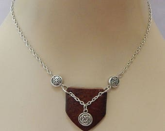 Silver Celtic Knot & Leather Pendant Necklace Jewelry Handmade NEW Fashion