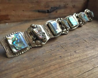Vintage 45 gm Mexican panel bracelet German silver abalone carved Aztec mask, Mayan face bracelet, Mexican jewelry, link bracelet