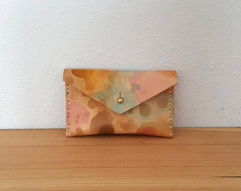 Small Leather Change Purse in Tie Dye