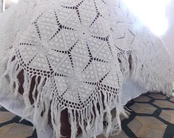 Vintage Bedspread Crotched Ecru Cream Handmade Jeanne d'arc living