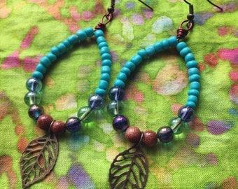 SALE! Beaded Hoop Leaf Earrings