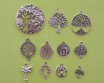 The Tree Charms Collection - 11 different antique silver tone charms