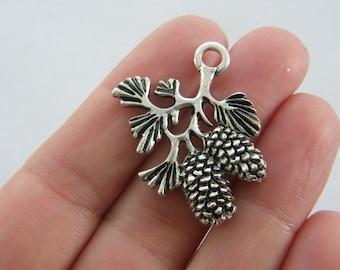 BULK 20 Pine cone charms antique silver tone L200