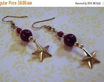 On Sale Purple Gemstones and Silver Star Drop Earrings