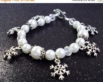 On Sale White pearls crystal and silver snowflake charm bracelet
