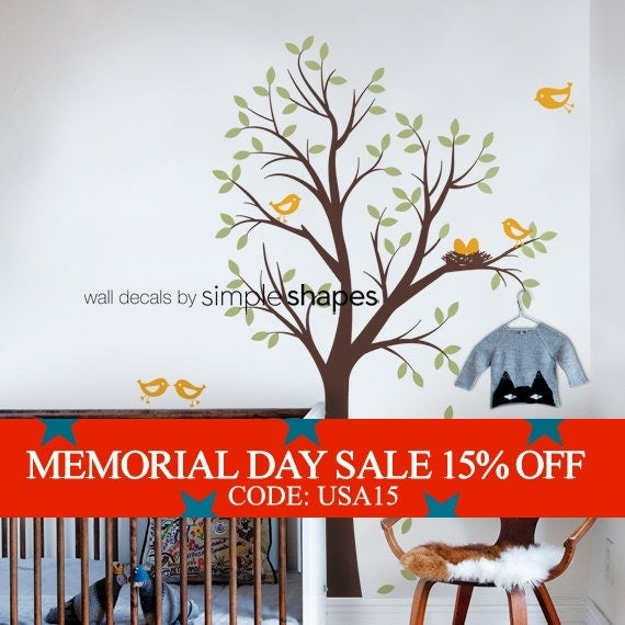 Memorial Day Sale - Baby Nursery Wall Decal: Tree with Birds and Nest Decal - Original Design by Simple Shapes