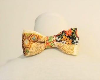 Men's bow tie made with vintage KIMONO golden silk satin crape kikko flower honey gold brown black red green fits 15 -20inch ready to ship