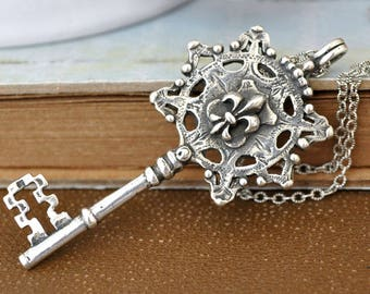 vintage sterling silver key necklace, THE KEY NECKLACE, vintage key necklace, skeleton key charm, unlock my heart, key to my heart,