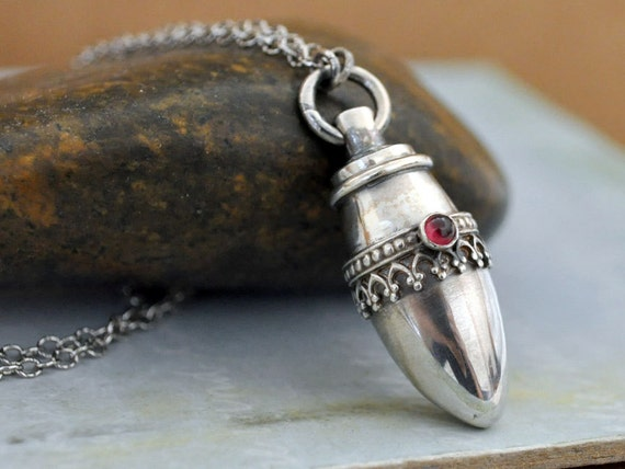 Sterling silver container necklace pill box tube locket red for Pill bottle jewelry