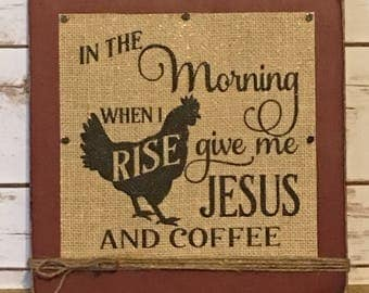 Coffee Sign,Rustic Coffee Sign,Coffee Decor,Christian Gift,Coffee Lover Gift,Coffee Signs For Kitchen,Jesus And Coffee Sign