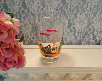 Vintage Blakely Gas Advertising Arizona Prickly Pear Cactus Glass Tumbler, 1950s Anchor Hocking and Libbey Glass, Western Decor Drinkware