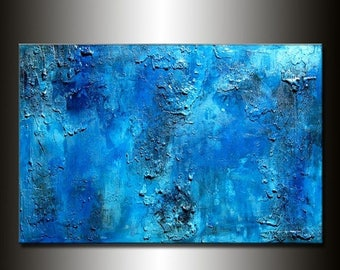 Original Thick BLUE Textured Abstract Painting, Contemporary Modern art by Henry Parsinia Large 36x24