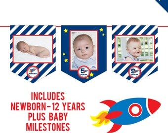 INSTANT DOWNLOAD Rocket Party, Outer Space Party - DIY printable photo banner kit - Includes Newborn through 12 Years, Plus Baby Milestones