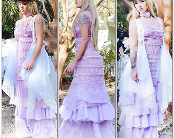 lace lilac maxi dress, Gypsy soul Stevie Nicks, gypsy cowgirl, romantic Maxi dress, Dresses, rustic country wedding, True Rebel Clothing