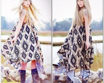 Med Lg Boho Dress, Aztec Bohemian Music Festival Sundress, Black Beige Hippie Chic Day Tripper Burning Man Spring Dress, True Rebel Clothing