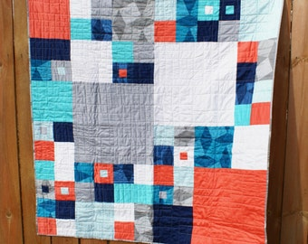 Modern Square Quilt with Coral, Navy, Aqua, White and Gray