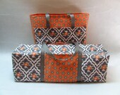 Cricut Explore Air Carrying Case / Carrying Bag for Silhouette Cameo 3 / Brother ScanNCut Carry Case / Gray and Orange Floral Print Set