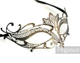 Gold and Black Cat Woman Venetian Filigree Scroll work Metal  Masquerade Mask (1 Piece, 5 color options) Aluminum Laser Cut Mask Made