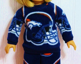 Football BRONCOS Fleece workout set fits 18inch Dolls - Proudly Made in America by mamastwinsees