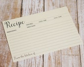 Cream Double Sided Recipe Card - Wedding Kitchen Shower Gift - Simple Lined Index Card Style - Size 4x6