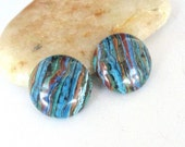 Rainbow Calsilica Smooth Round Matched Cabochon Pair 12mm
